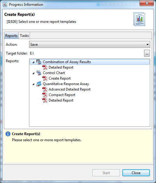 Reporting dialog in PLA 3.0